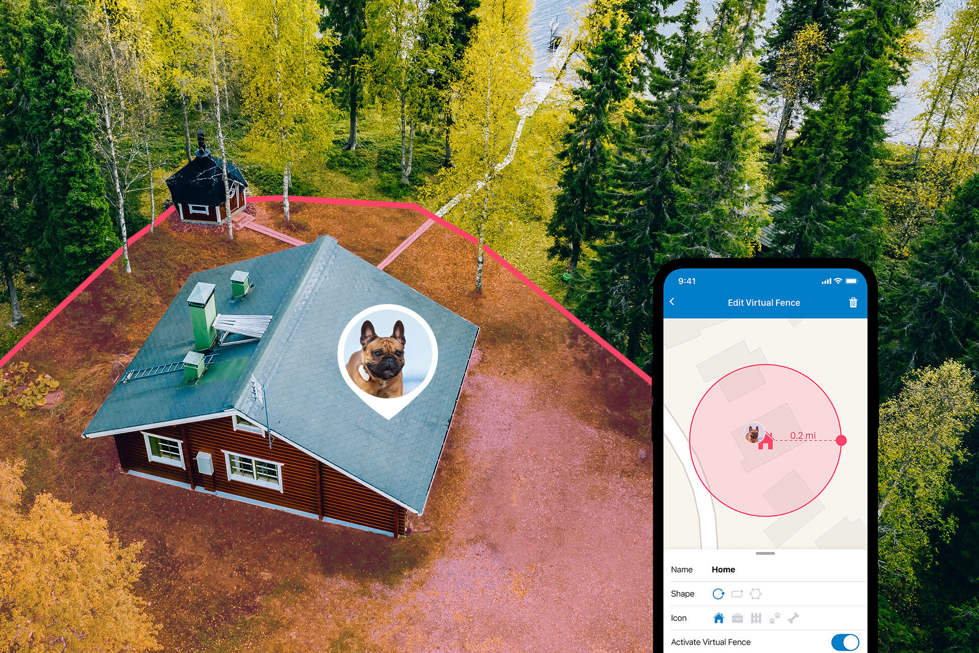 Tractive GPS Dog Tracker Virtual Fence Feature Illustration