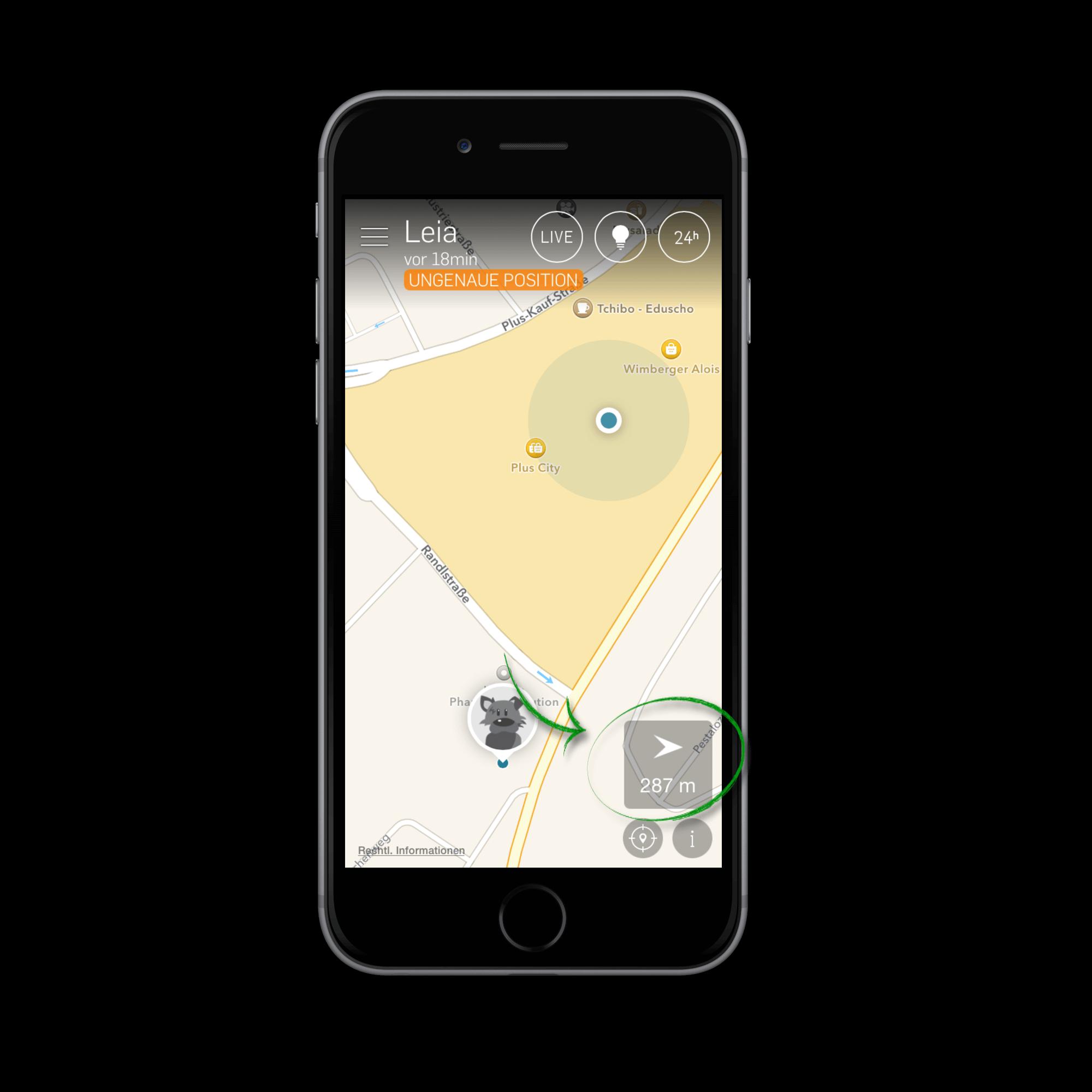 map mit aktiviertem compass