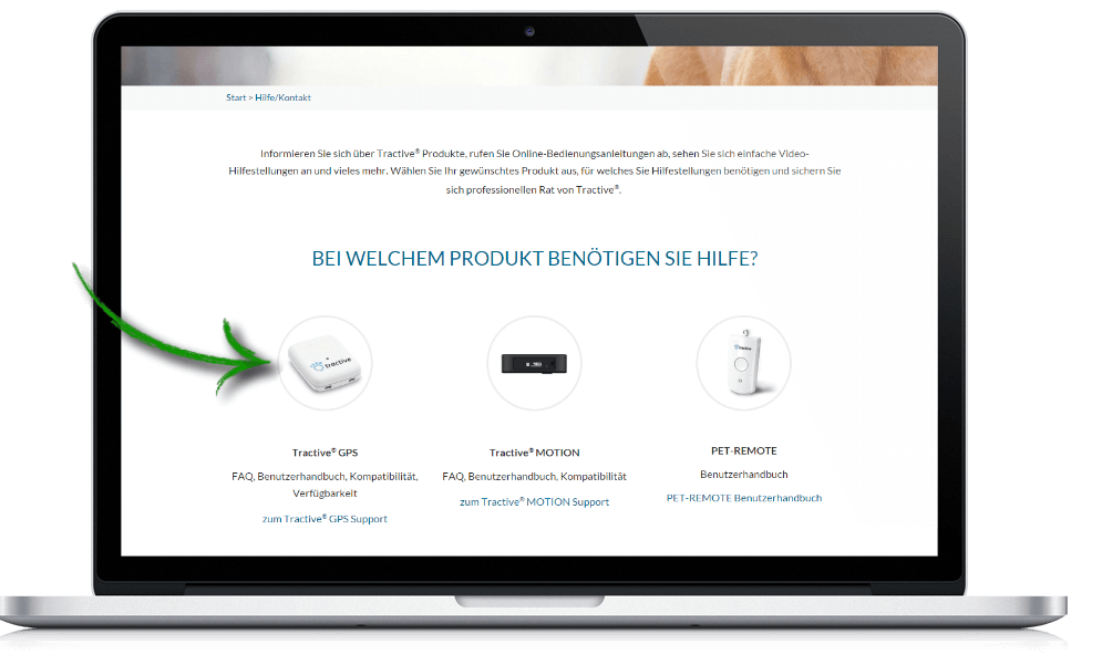 Tractive Website - Choose product