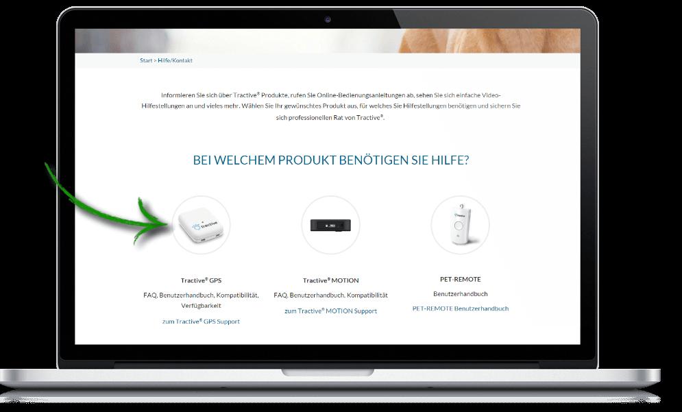 Tractive Website - Produktauswahl