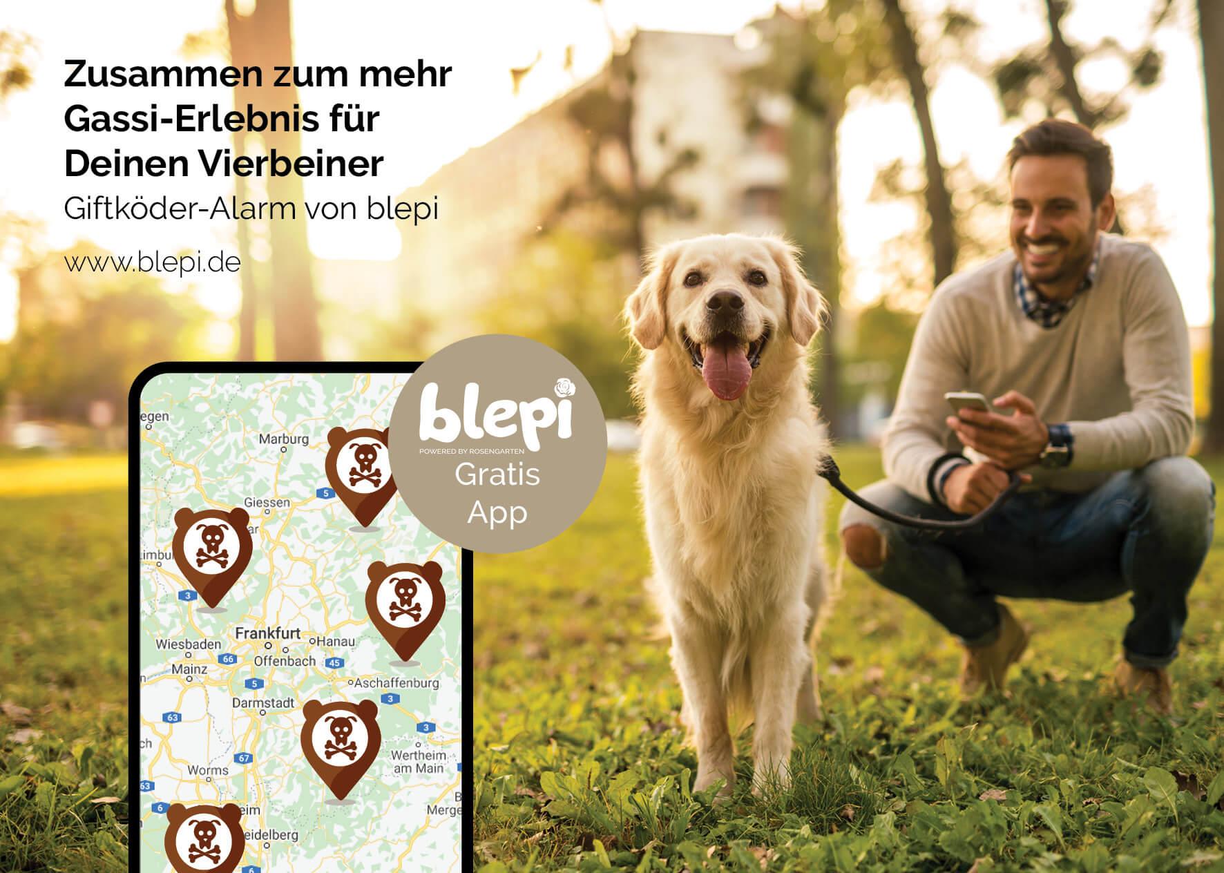 Hund an der Leine mit Besitzer - Blepi-App im Vordergrund