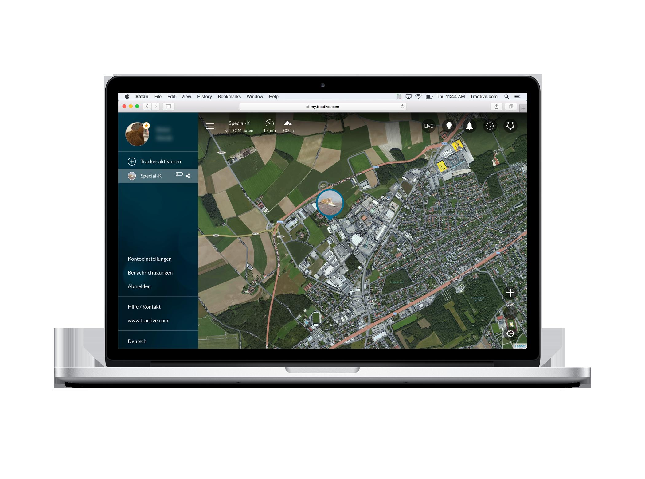 Tractive Webapp - Überblick der Karte