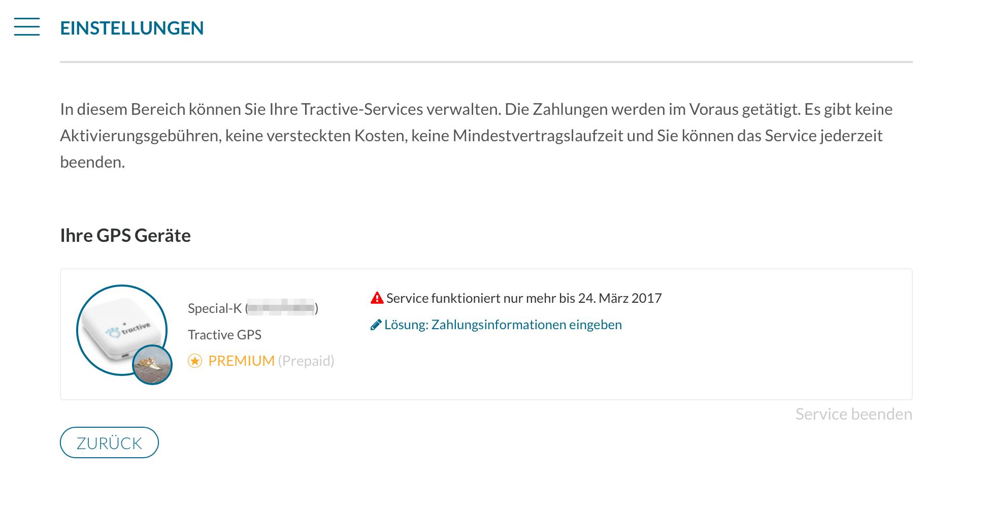 Tractive Webapp - Laufende Abos