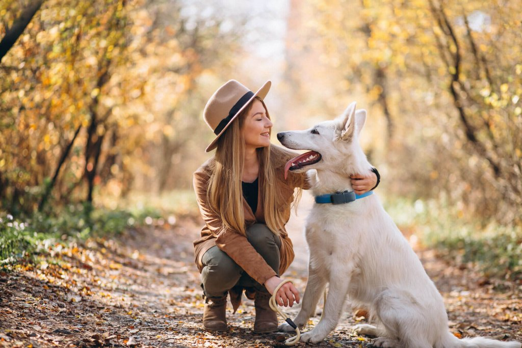 Hund mit Frauchen im Wald trägt Tractive GPS Tracker