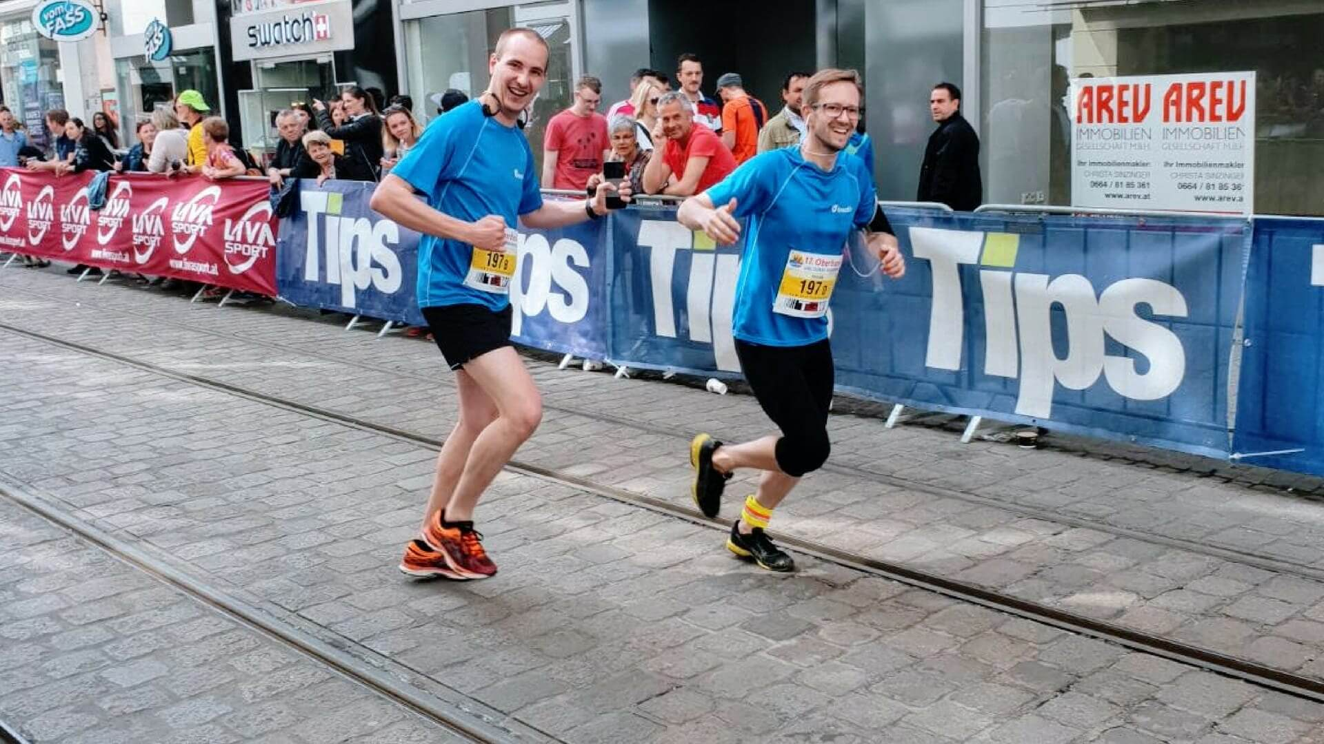 team sport activities thomas and dominik running at the linz donau marathon