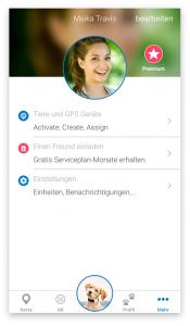 Der Mehr-Reiter in der Tractive GPS App 3.0.0 zeigt dir folgende Funtkionen