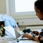 One of our internationals Karz working at her desk