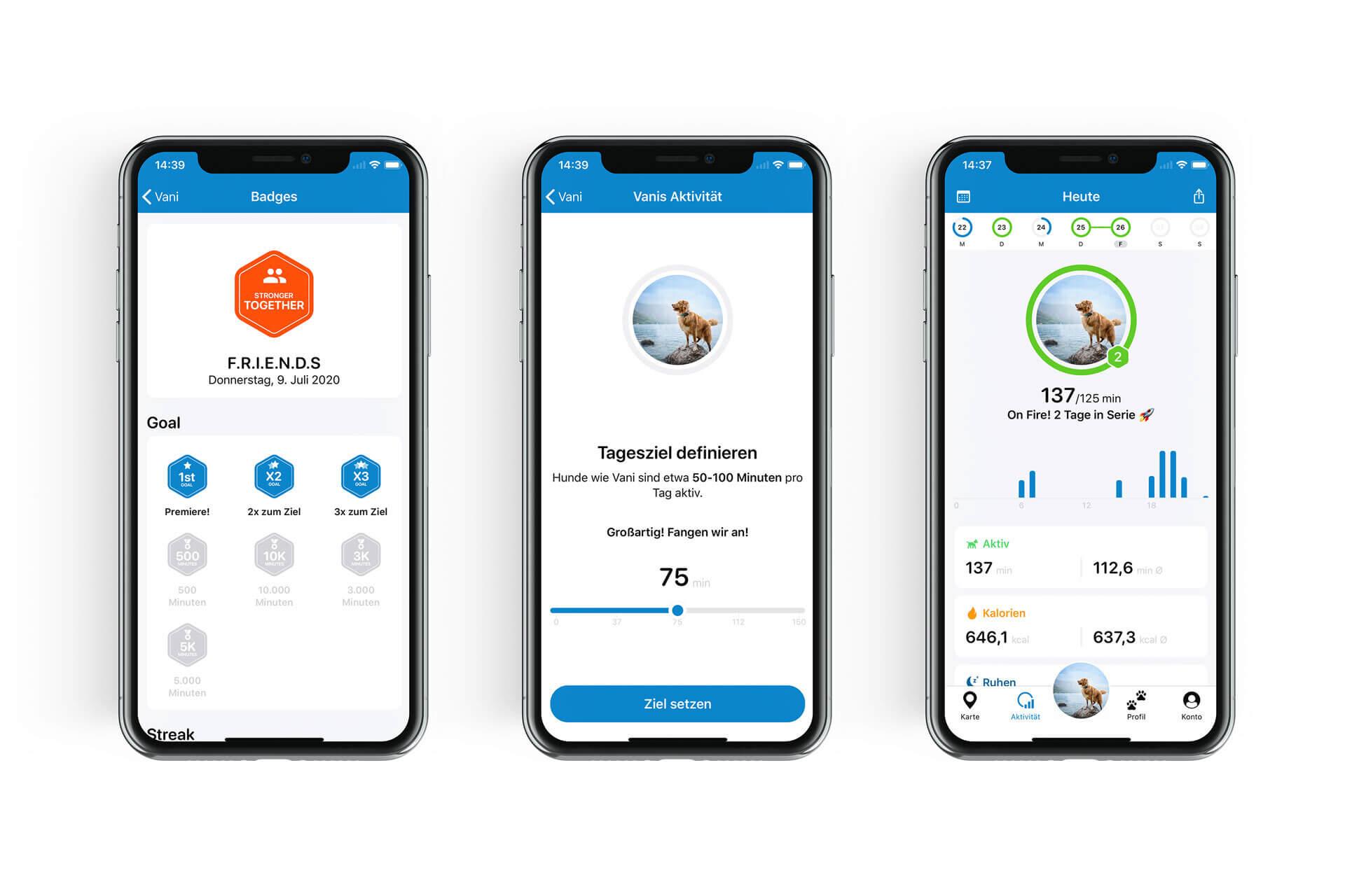 Screenshots des Aktivitätstrackings in der Tractive GPS App mit aktiven Minuten, Aktivitätsziel und Badges