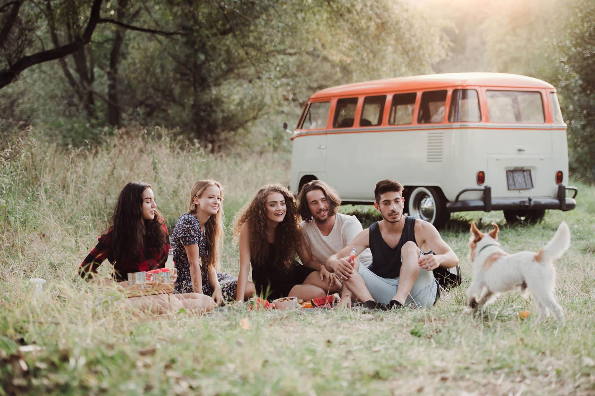 Jeunes personnes dans la nature avec un chien et un van