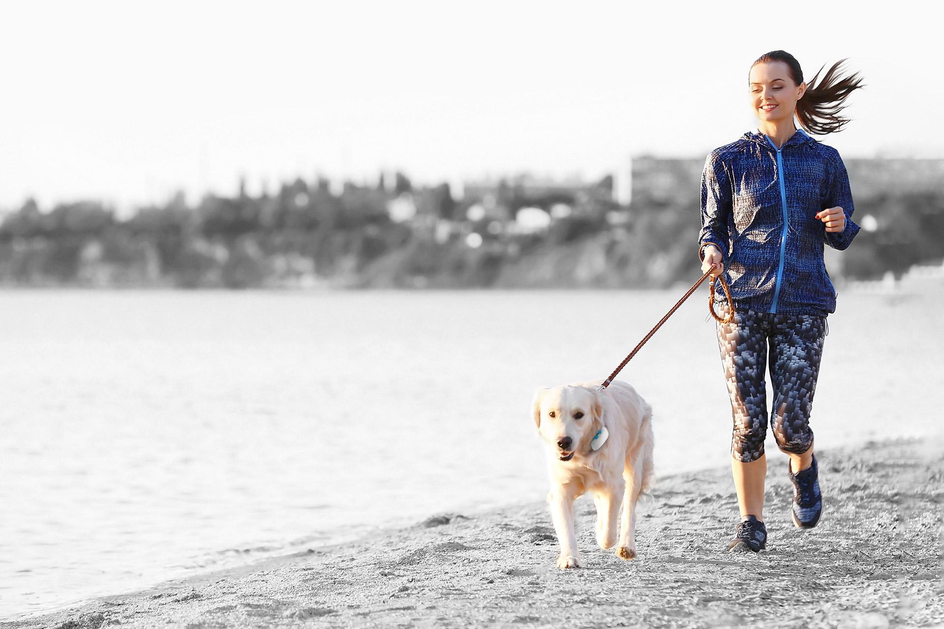 Entlang eines Ufers joggende Frau mit Hund