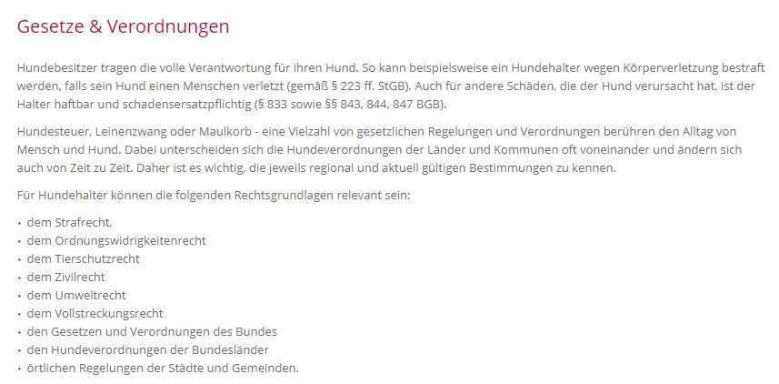 Absatz zu Gesetzen & Verordnungen bezüglich Hundehaltung (VDH)