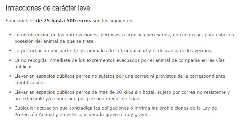 Infracciones leves para los animales de compañía en la Comunidad de Andalucía