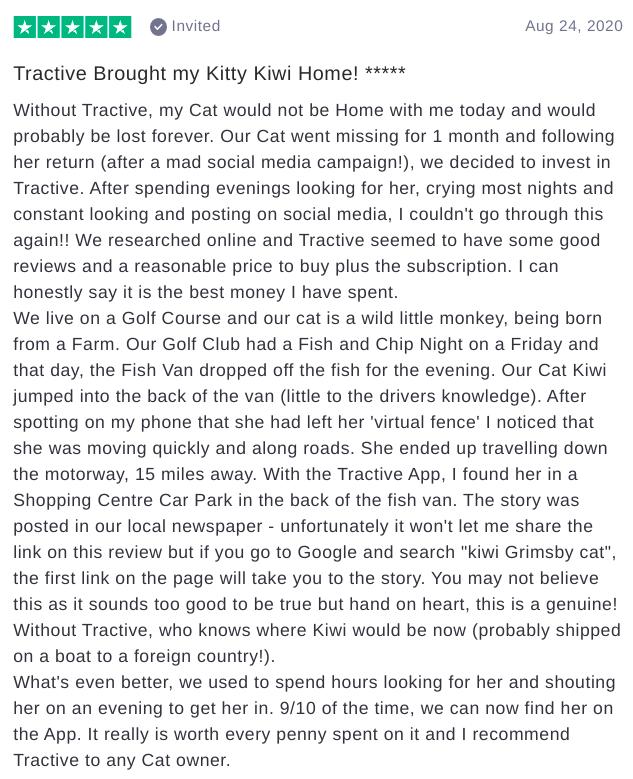 Tractive GPS Trustpilot Review