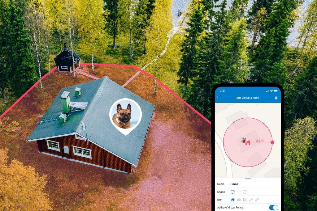 Holzhaus, Waldgrundstück und See von oben, mit virtuellem Zaun versehen, plus Screenshot der Tractive GPS App mit Weglaufwarnung