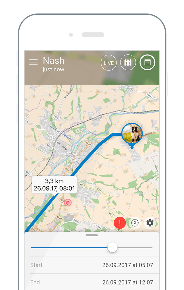 Tractive GPS App showing the location history